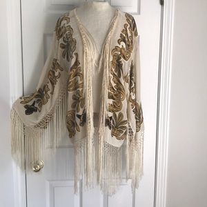 Vintage Burnout Velvet kimono with long fringe